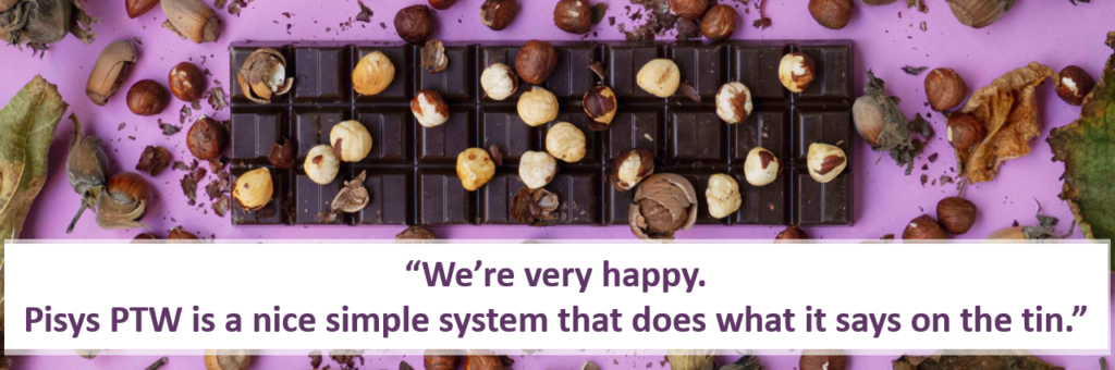 chocolate bar and caption 'We are very happy. It's a nice simple system and it does what it says on the tin.